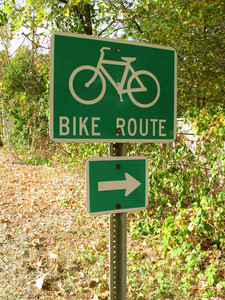 A green bike route sign on the side of the road.