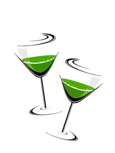 A Green Wine Glass Theme For Patrick's Day.vector Illustration.