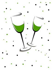 A Green Wine Glass Theme Of Patrick's Day. Vector Illustration.