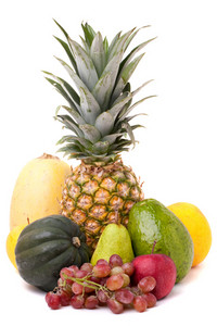 A group of arranged fresh fruits and vegetables isolated over white.