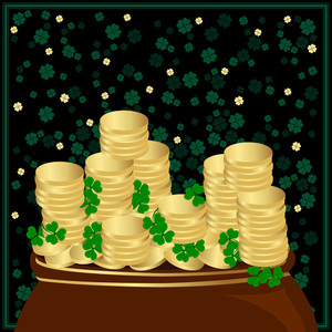 A Group Of Gold Coins With Bright Shamrocks Leafs On Background. Vector.