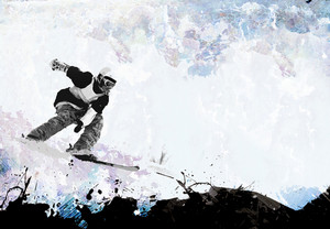 A grungy extreme winter sports layout with plenty of negative space for your text.
