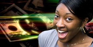 A happy or surprised young black woman in front of a money montage background.