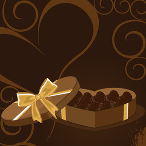 A Heart Box Of Valentine's Chocolateon Brown Floral Background