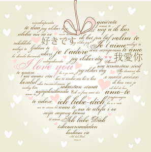"A Heart Made Of Words ""i Love You"" In Many Languages-"