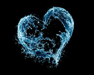A heart made out of water splashes