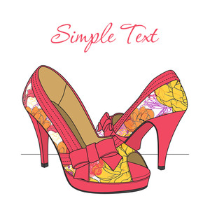 A High-heeled  Shoes With Flowers.