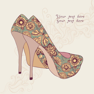 A High-heeled Vintage Shoes With Flowers Fabric. High Heels Background With Place For You Text