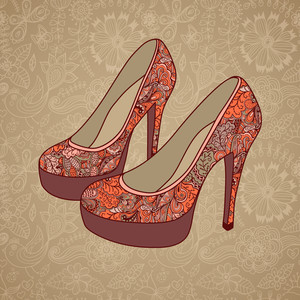 A High-heeled Vintage Shoes With Flowers Fabric. High Heels Background With Place For You Text On Paper Background.
