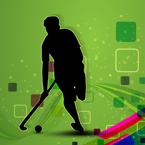 A Hockey Player On Green Abstract Background.