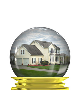 A housing crisis concept with a home in a crystal ball isolated over white.  A great concept for predicting or foretelling the changes in the real estate market.