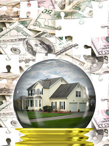 A housing crisis concept with a home in a crystal ball with a money puzzle background.  A great concept for predicting the changes in the real estate market.