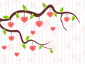 A Love Tree Having Hanging Heart Shapes. Vector Illustration.