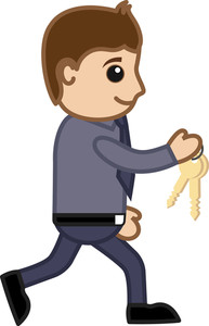 A Man Carrying Keys - Cartoon Vector