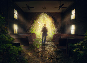 A man leaves from an empty church in the forest.