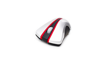 A modern wireless mouse isolated over white. Plenty of copyspace for your text or design.
