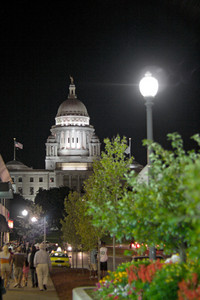 A night time view of the capital building in Providence Rhode Island.