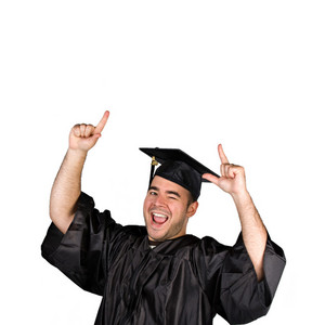 A recent graduate posing in his cap and gown isolated over a white background.