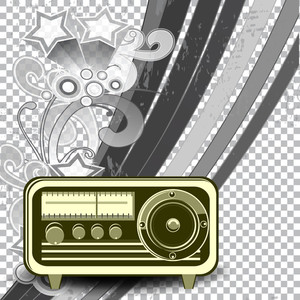 A Retro Styled Radio On Transparent Like Background With Abstract Floral And Lines10