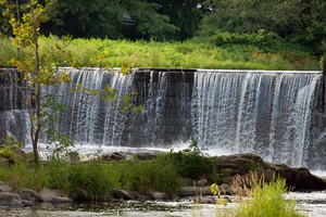 A river waterfall in rural New England.