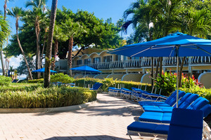 A row of blue lounge chairs and umbrellas in a tropical setting.