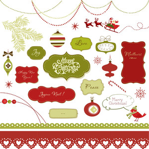 A Set Of Christmas Scrapbook Elements