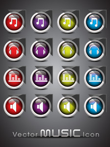 A Set Of Colorful Musical Themed Glossy Icons10