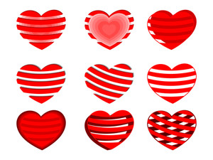 A Set Of Decorative Red  Heart Shapes.vector Illustration.