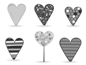 A Set Of Diffrent Styles Heart Shapes In Black And White Color On Isolated Background.