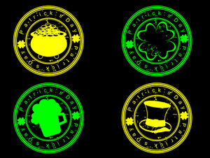 A Set Of Glowing Stamp For St. Patrick's Day.