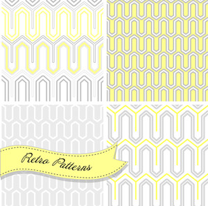 A Set Of Seamless Retro Patterns. This Stylish Mosaic Can Be Used For Wallpapers