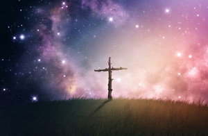 A single cross made out of woode under a night sky