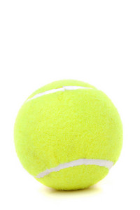A single green tennis ball isolated over white.