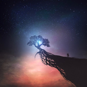 A single tree on top of a cliff under a starry sky.