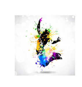 A Sport Player With Colorful Spots And Splashes On White Background.