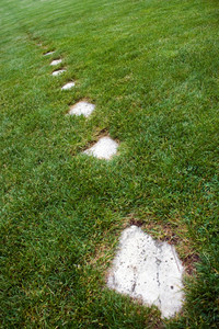 A stone foot path through some green grass.