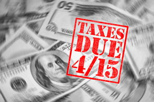 A tax time themed montage for US taxpayers warning about the due date of April 15