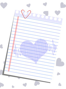 A Template Of Heart Shape On A Note And Heart Beats For Valentines Day.