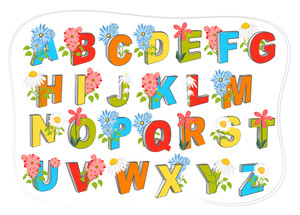 A To Z Colorful Alphabets With Flowers Vectors