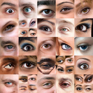 A variety of square cropped eyeball close ups with both male and female eyes.