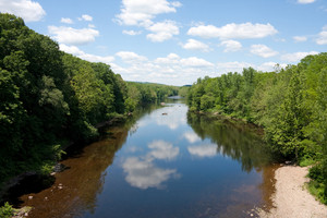 A view of the beautiful Farmington river on a nice day in central Connecticut.