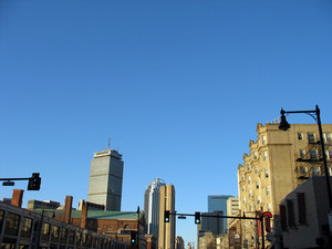 a view of the boston skyline