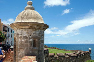 A view of the historic San Cristobal fortification towers located in Old San Juan Puerto Rico with views of El Morro.