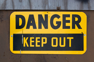 A warning sign that reads DANGER KEEP OUT.