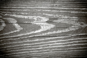 A weathered wood grain texture in black and white with vignette.
