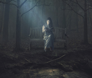 A woman is alone in the dark woods as she reads her Bible.