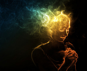 A woman made of smoke prays to God.