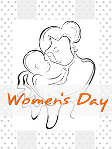 A Woman Or A Mother Having Her Baby With The Line Art Creation. Vector.