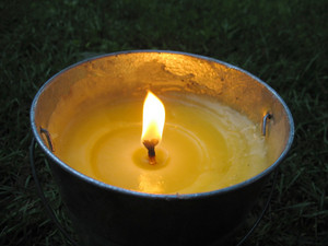 A yellow citronella bucket candle - perfect for those summertime evenings to keep the mosquitos away.
