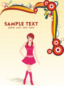 A Young Beautiful Fashion Girl With Place For Text
